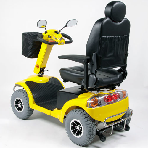 Back View - Yellow Heavy Terrain Mobility Scooter - Model Haxi HT