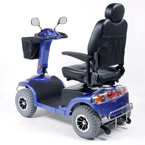 Back View - Blue Heavy Terrain Mobility Scooter - Model Haxi HT
